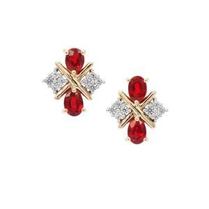 Songea Ruby Earrings with White Zircon in 9K Gold 1.14cts