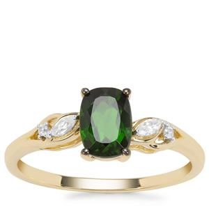 Chrome Diopside Ring with White Zircon in 9K Gold 1.12cts