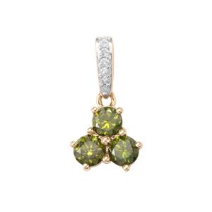 3/4ct Green & White Diamond 9K Gold Pendant