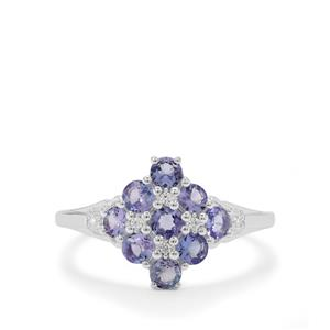 Tanzanite Ring with White Zircon in Sterling Silver 1cts