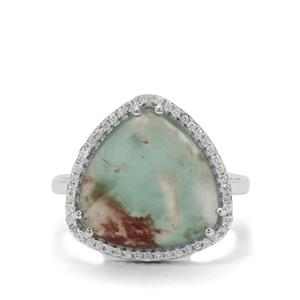Aquaprase™ & White Zircon Sterling Silver Ring ATGW 8.68cts