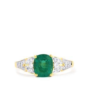 Zambian Emerald & Diamond 18K Gold Tomas Rae Ring MTGW 1.75cts