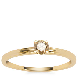 Champagne Diamond Ring in 9K Gold 1/4cts