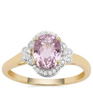 Nuristan Kunzite Ring with Diamond in 9K Gold 2.01cts