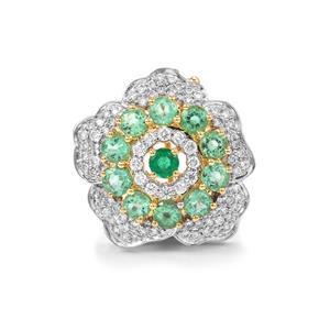 Ethiopian Emerald & Diamond 18K Gold Lorique Brooch MTGW 1.54cts
