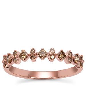 Champagne Argyle Diamond Ring in 9K Rose Gold 0.34ct