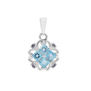 Swiss Blue Topaz Pendant with Iolite in Sterling Silver 1.24cts