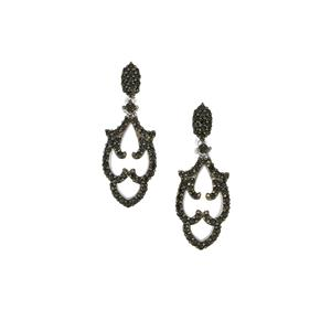 Black Spinel Earrings in Sterling Silver 1.20cts