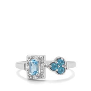 Swiss Blue Topaz ,Neon Apatite & White Zircon Sterling Silver Ring ATGW 0.59cts