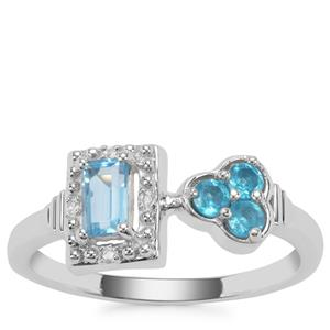Swiss Blue Topaz ,Neon Apatite Ring with White Zircon in Sterling Silver 0.59ct