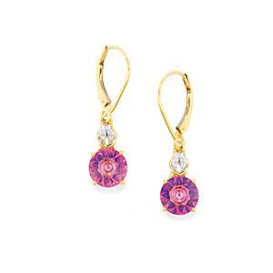 Lehrer KaleidosCut Mystic Pink Topaz, Brazilian Neon Apatite & Diamond 9K Gold Earrings ATGW 4cts