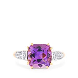 Moroccan Amethyst & White Sapphire 10K Rose Gold Ring ATGW 3.05cts