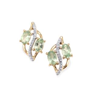 Alexandrite Earrings with Diamond in 10K Gold 1.14cts