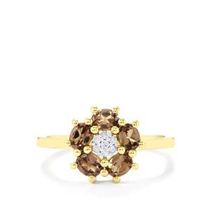 Bekily Colour Change Garnet & Diamond 10K Gold Ring ATGW 1.11cts