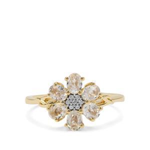 Ceylon White Sapphire Ring in 9K Gold 1.38cts