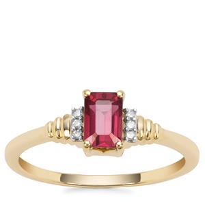 Malawi Garnet Ring with White Diamond in 9K Gold 0.80ct