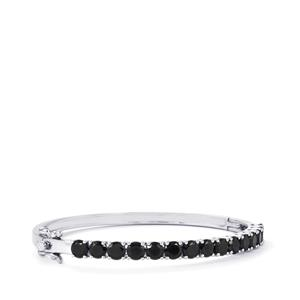 Black Spinel Oval Bangle  in Sterling Silver 9.07cts