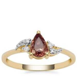 Miova Loko Colour Change Garnet Ring with Diamond in 9K Gold 0.84ct