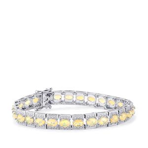 Ethiopian Opal & Diamond Sterling Silver Bracelet ATGW 7.73cts