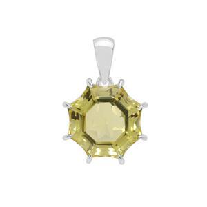 7.95ct  Mirror of Paradise Cut Lemon Quartz Sterling Silver Pendant