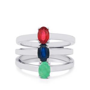 Madagascan Blue Sapphire,  Malagasy Ruby & Carnaiba Brazilian Emerald Sterling Silver Set of 3 Rings ATGW 1.77cts (F)