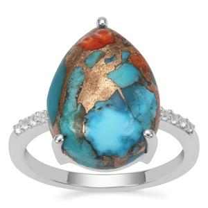 Oyster Turquoise Ring with White Topaz in Sterling Silver 9.25cts