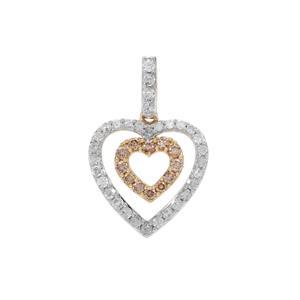 Champagne Diamond Pendant with White Diamond in 9K Gold 0.51ct