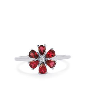 Mahenge Red Spinel Ring with White Zircon in Sterling Silver 0.95cts