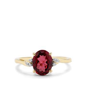 Morogoro Garnet & Diamond 9K Gold Ring ATGW 2cts