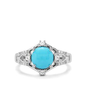 Sleeping Beauty Turquoise & White Zircon Sterling Silver Ring ATGW 1.82cts