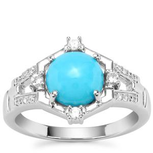Sleeping Beauty Turquoise Ring with White Zircon in Sterling Silver 1.82cts