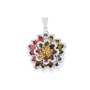 Rainbow Tourmaline Pendant with White Zircon in Sterling Silver 10.58cts