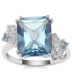 Santa Maria Topaz Ring with Swiss Blue Topaz in Sterling Silver 7.45cts