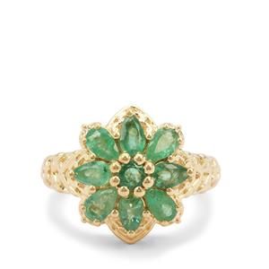 Carnaiba Brazilian Emerald Ring in Gold Plated Sterling Silver 1.64cts