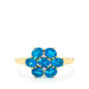 Neon Apatite Ring with Diamond in 9K Gold 1.20cts