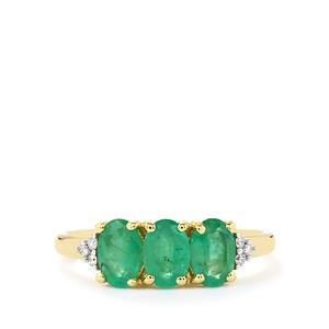 Zambian Emerald & Diamond 9K Gold Ring ATGW 1.31cts