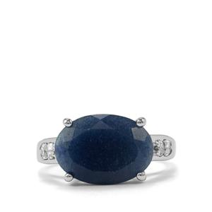 Dumortierite & White Topaz Sterling Silver Ring ATGW 5.61cts