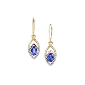 AAA Tanzanite Earrings with Diamond in 9K Gold 0.98cts