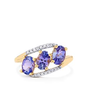 AA Tanzanite Ring with White Zircon in 9K Gold 1.86cts