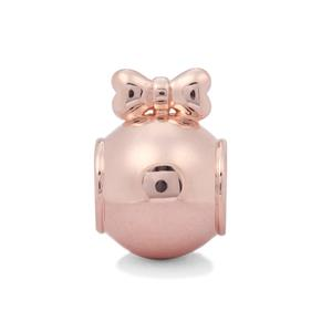 Bauble with Bow Kama Bead Charms in Rose Gold Plated Sterling Silver