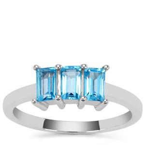 Swiss Blue Topaz Ring in Sterling Silver 1.08cts