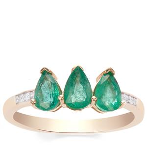 Zambian Emerald & White Zircon 9K Gold Ring ATGW 1.18cts