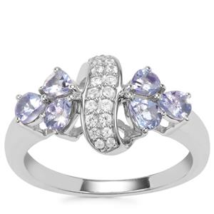 Tanzanite Ring with White Zircon in Sterling Silver 1.37cts