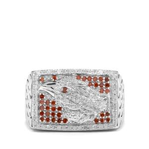 3/4ct Cognac & White Diamond Sterling Silver Eagle Design Ring