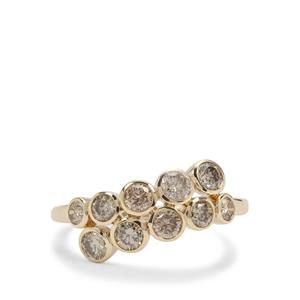 Champagne Diamond Ring in 9K Gold 1.05cts
