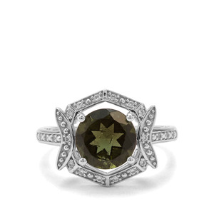 Moldavite & White Zircon Sterling Silver Ring ATGW 2.28cts