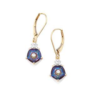 Lehrer TorusRing Mystic Topaz Earrings with Diamond in 9K Gold 3.70cts