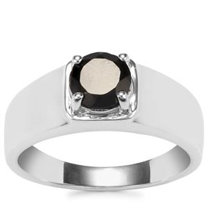 Black Spinel Ring in Sterling Silver 1.50cts