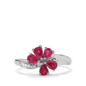 Burmese Ruby & Diamond Sterling Silver Ring ATGW 0.80cts