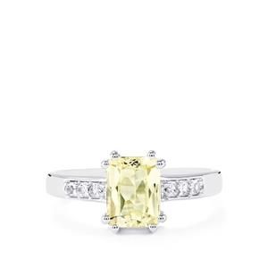 Canary Kunzite & White Topaz Sterling Silver Ring ATGW 1.90cts